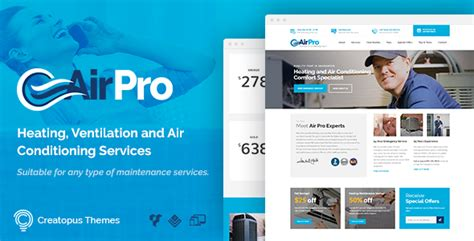 Airpro Heating And Air Conditioning Wordpress Theme For Maintenance Services Heating And Air Conditioning Website Templates