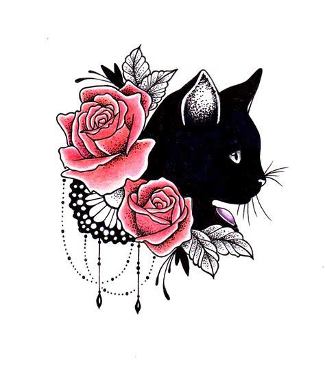 tattoo cat flowers mod 232 le pour tatouage chat noire roses dentelle bijoux