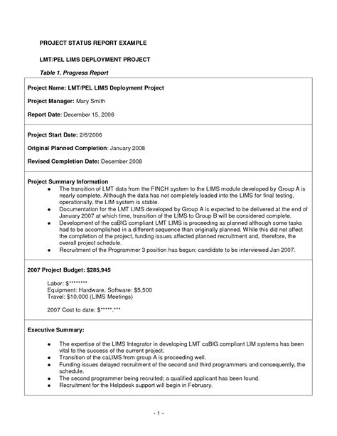 project management progress report template best photos of project progress report sle project