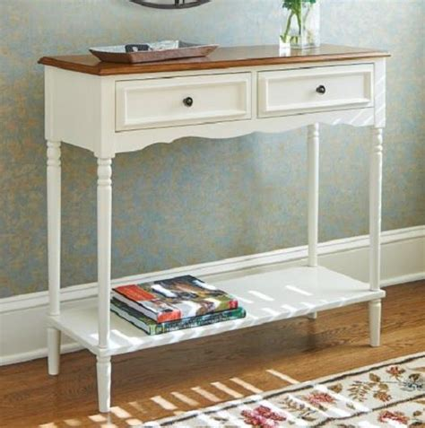 Cream Cottage Coastal Country Console Sofa Table Storage Console Sofa Table With Storage Drawers