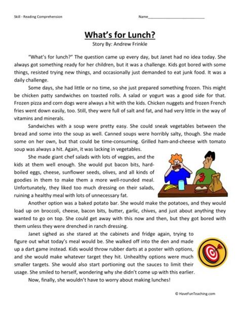 reading comprehension test practice 3rd grade reading comprehension worksheet what s for lunch