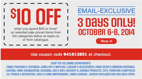 sears canada coupon code save 10 when you spend 50