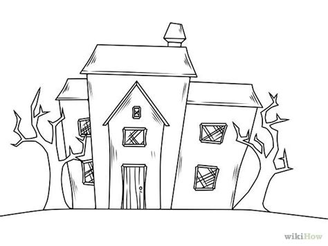 how to draw a haunted house draw a haunted house wikihow