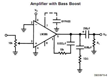 what do capacitors do in a guitar lifier audio how does this lm386 circuit boost bass electrical engineering stack exchange