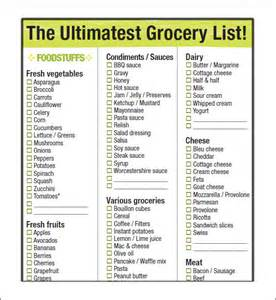 Master Grocery List Template 9 Grocery List Template Sample Templates