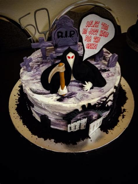 Home Decoration Magazine by Grim Reaper 50th Birthday Cake Cakecentral Com