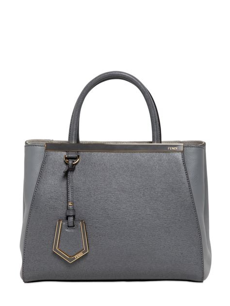 Fendi Mini 2 J Grey Fendi Mini 2jours Structured Leather Bag In Gray Grey Lyst