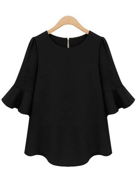 Black Blouse black plain falbala half sleeve chiffon blouse blouses