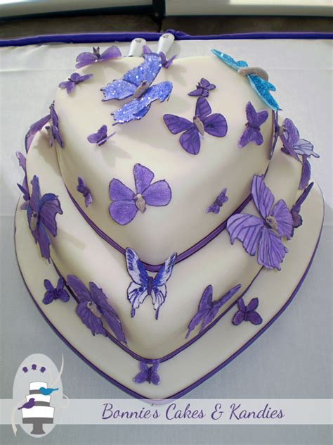 Handcrafted Cakes - pretty purple butterflies for a gympie wedding cake