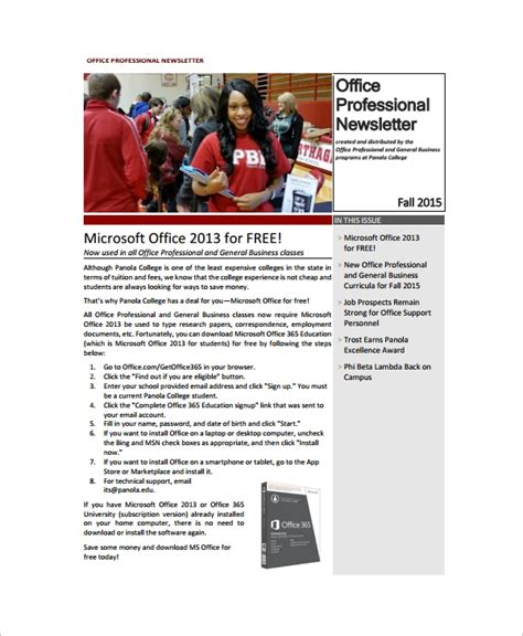 8 Sle Office Newsletters Sle Templates Free Newsletter Templates For Microsoft Word