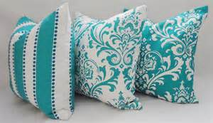 trio decorative pillow turquoise damask pillow by homeliving