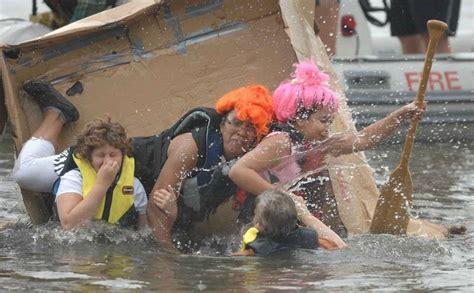 aurora cardboard boat race rain doesn t den charity cardboard boat race in aurora