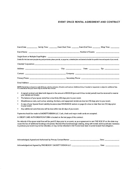 event agreement template rental contract 10 free pdf word documents