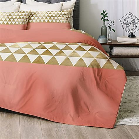 Buy Deny Designs Gold Triangle Twin Twin Xl Comforter Set Pink And Gold Bedding Sets