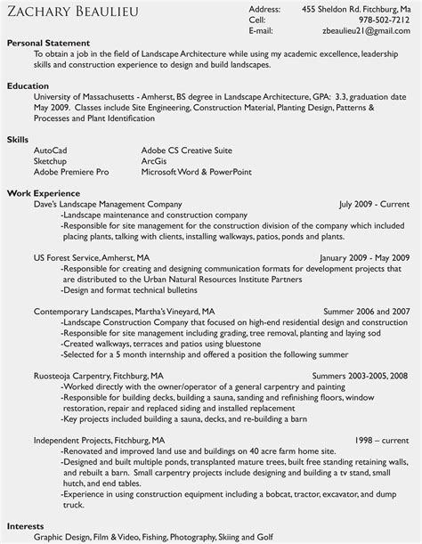 Resume Description Landscaper Awesome Landscape Technician Sle Resume Resume Daily
