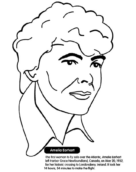 amelia earhart aviation coloring page crayola com