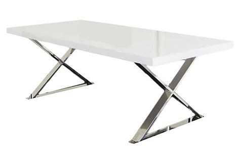 x leg dining table white silver