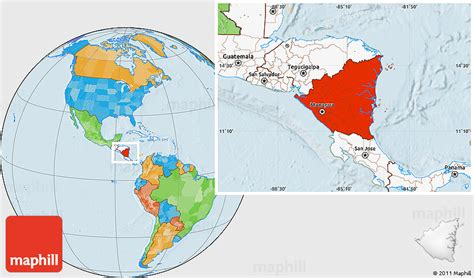 where is nicaragua on the world map political location map of nicaragua highlighted continent