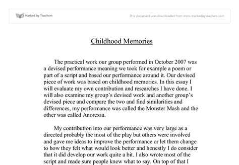 A Childhood Memory Essay by Narrative Essay Childhood Memory Images Frompo