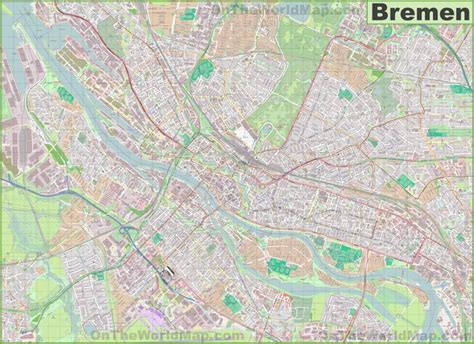 bremen city map large detailed map of bremen