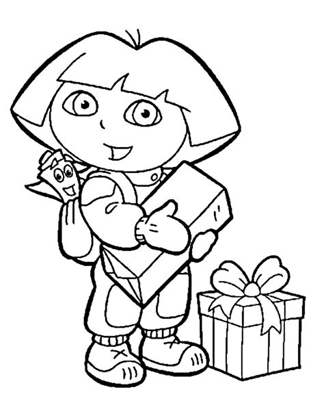 dora the explorer coloring pages boots dora coloring pages with gifts for kids printable free