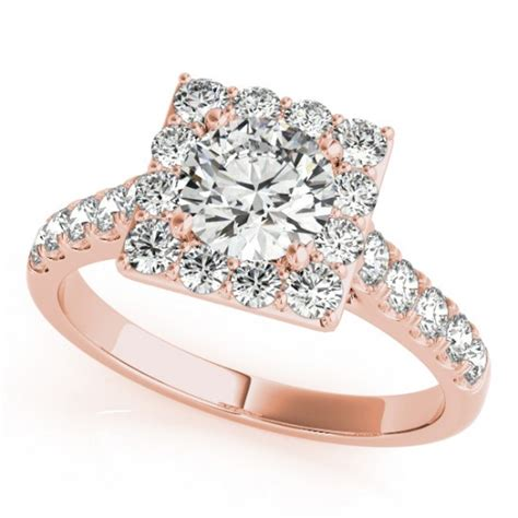 halo square border engagement ring 18k gold 3