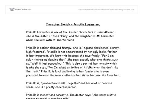 Character Sketch Exle Essays by Character Sketch Priscilla Lammeter Gcse Marked By Teachers
