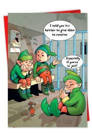 vulgar elves  jail christmas card nobleworkscardscom