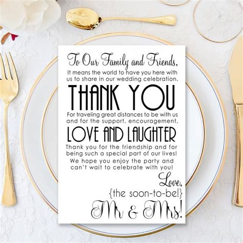 thank you letter to reception wedding thank you letter printable wedding printable