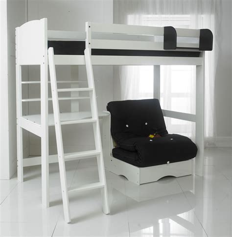 High Sleeper With Desk And Futon High Sleeper Bed With Desk And Shelves Futon White With Futon In 5 Colours Ebay