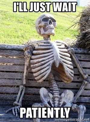 Just Waiting by I Ll Just Wait Patiently Waiting Skeleton Meme Generator