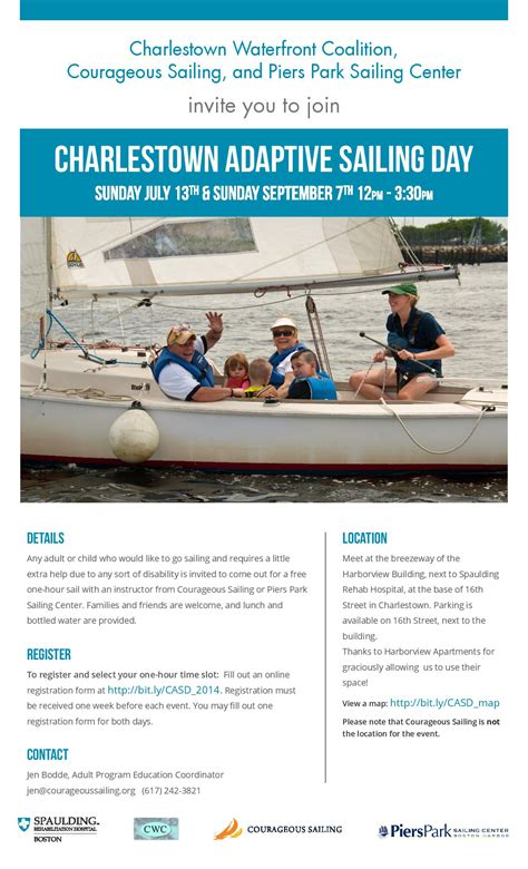 charlestown adaptive sailing day on july 13 and september