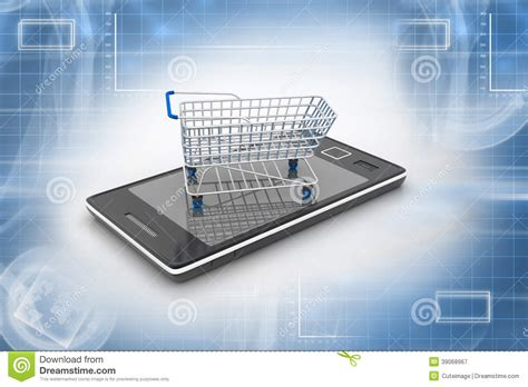 Smart Phone Smart Shopping by Smart Phone And Shopping Trolley Stock Illustration