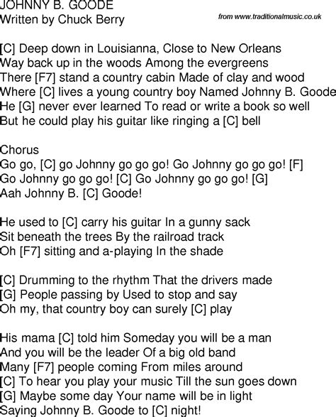 guitar tutorial johnny b goode old time song lyrics with guitar chords for johnny b goode c