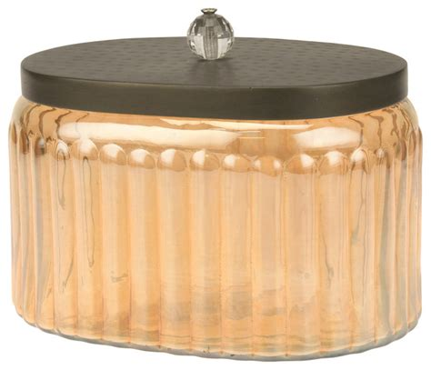 decorative kitchen canisters and jars decorative amber glass canister with hammered metal lid