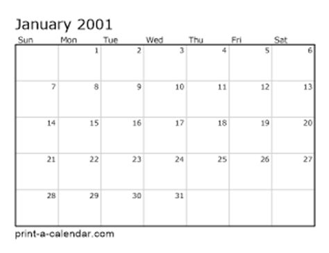 Calendar For 2001 2001 Printable Calendars
