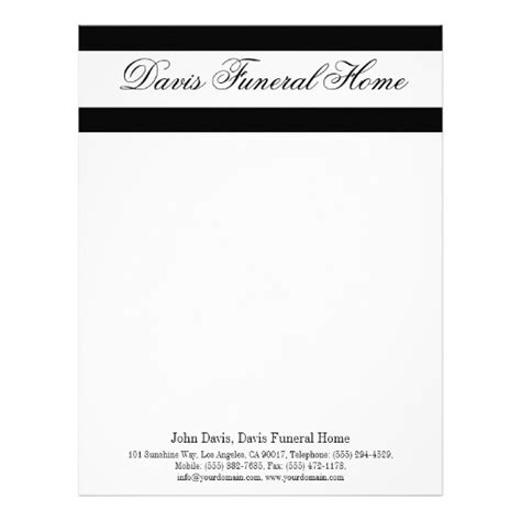 funeral stationery templates funeral home letterhead mortuary crematory zazzle