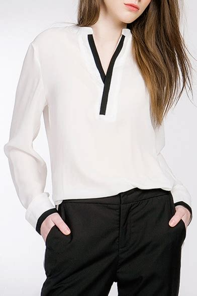 Plain V Neck Chiffon Shirt s contrsast v neck plain chiffon sleeve blouse