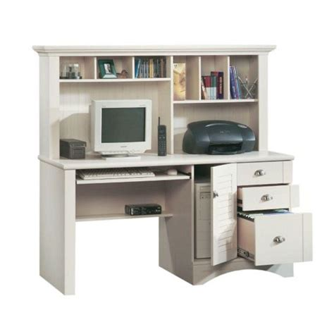 Sauder Harbor View Computer Desk With Hutch Antiqued Paint Sauder Harbor View Collection Antiqued White Computer Desk With Hutch 158034 The Home Depot