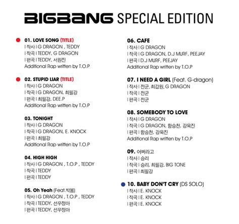 Wedding Shower Song List by News Track List For Bigbang S Special Edition Revealed