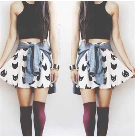 skirt crop tops skater skirt denim shirt knee high