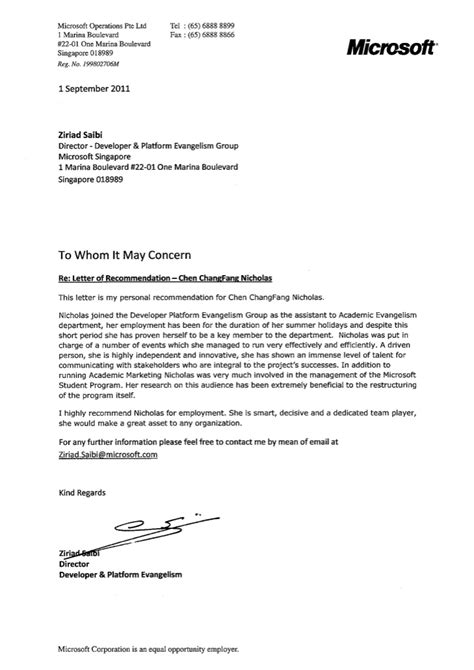 Recommendation Letter Format For Ms From Employer Letter Of Recommendation Microsoft