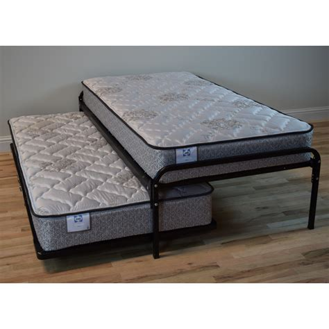 double trundle bed duralink metal twin pop up trundle bed in black by humble