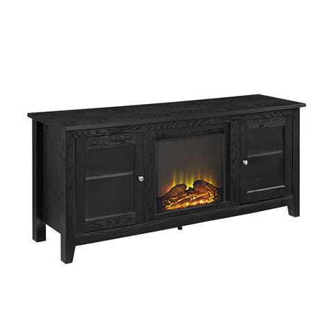 Fireplace Tv Stand Black by 58 Quot Black Wood Fireplace Tv Stand With Doors