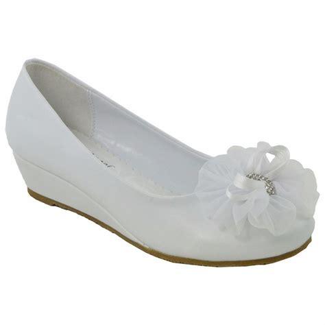 wedge dress shoes rhinestone flower accent low heels