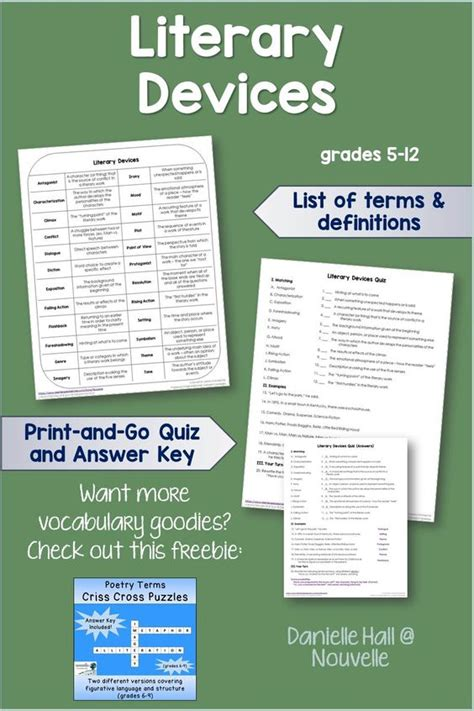 printable quiz on literary devices student quizes and definitions on pinterest