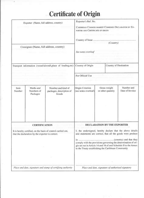 certificate of origin template pdf caricom certificate of origin template free