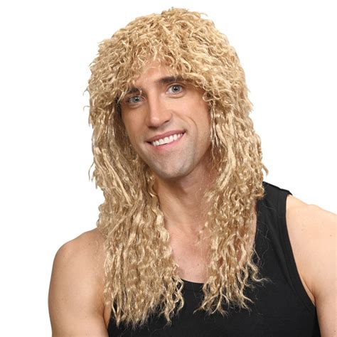 long haired perms for black men rockstar wig blonde mens long curly 1980s perm fancy dress