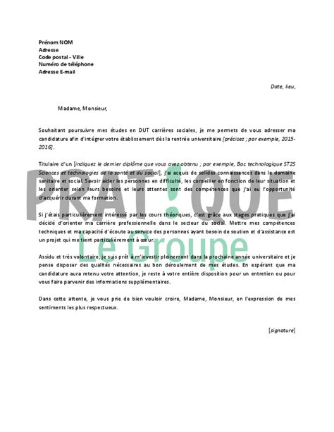 Exemple De Lettre De Motivation Dut Informatique lettre de motivation pour un dut carri 232 res sociales
