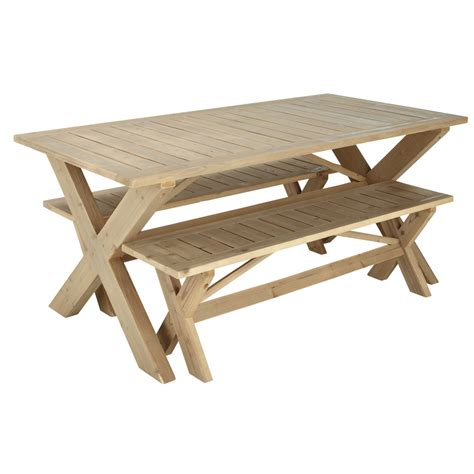 wooden garden benches with table wooden garden table 2 benches w 180cm lacanau maisons